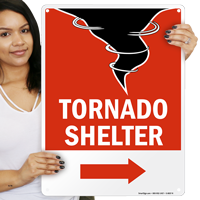 Tornado Emergency Shelter Area Sign with Right Arrow