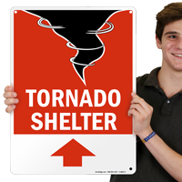 Tornado Emergency Shelter Area Sign with Up Arrow
