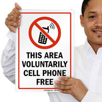 This Area Voluntarily Cell Phone Free Sign
