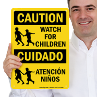 Watch For Children Bilingual Sign