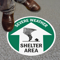 Severe Weather Shelter Area Floor Sign