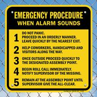 Emergency Procedure When Alarm Sounds Signs