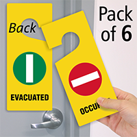 Evacuated Occupied Two Sided Door Hang Tags Sku Tg 0932