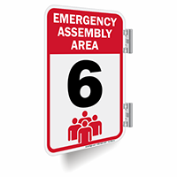 Emergency Assembly Area Number 6 Double Sided Sign