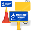 Accessible Entrance Left Arrow ConeBoss Sign