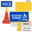 Accessible Entrance Right Arrow ConeBoss Sign