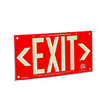 Red background, wording EXIT