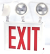 New York-Approved LED Exit Sign with Emergency Lights, Double Face, Red letters and Three Lamp Heads