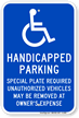 Handicapped Parking Special Plate Required Sign
