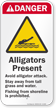 Alligators Present, Avoid Attack, Stay Away Sign