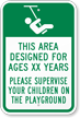 Area Designed For Ages Custom Playground Sign