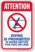 Attention Diving Is Prohibited Pool Sign
