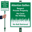No Carts No Hitting Private Property Sign