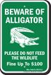 Beware of Alligator, Mississippi Alligator Warning Sign