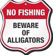 Beware Of Alligators No Fishing Shield Sign