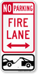 Bidirectional Fire Lane, No Parking Sign
