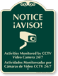 Bilingual Activities Monitored By CCTV Video Camera Sign