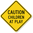 Caution Children At Play Aluminum Property Sign