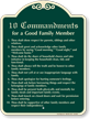 Commandments For Good Family Member Sign