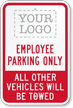 Custom Employee Parking Only Logo Sign