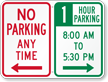 Custom No Parking Anytime Sign, Left Arrow