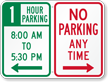 Custom No Parking Anytime Sign, Right Arrow