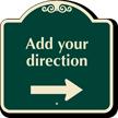 Custom Parking Direction Signature Sign, Right Arrow