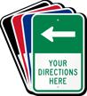 Customizable Parking Lot Directions Sign, Left Arrow