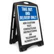 Custom Take Out And Delivery Sidewalk Sign