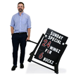2 Sided Deluxe Rolling Swinger Sidewalk Sign - Black