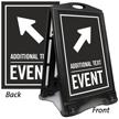 Diagonally Right Arrow Event Parking Sidewalk Sign