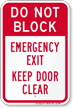 Dont Block, Emergency Exit Door Sign
