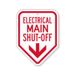 Electrical Main Shut-Off with Down Arrow Sign