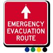 Emergency Evacuation Route Ahead Arrow Sign