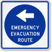 Emergency Evacuation Route Sign With Left Arrow Symbol