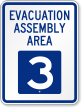 Evacuation Assembly Area 3 Emergency Sign