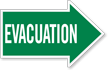 Evacuation, Right Die-Cut Directional Sign