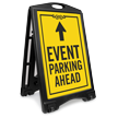 Event Parking Ahead With Arrow Sidewalk Sign