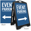 Event Parking With Directional Arrows Sidewalk Sign