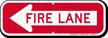 Fire Lane, Left Arrow Directional Parking Sign