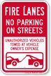 Fire Lanes, No Parking On Streets Sign