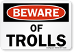 Beware Of Trolls Funny Middle Earth Road Sign