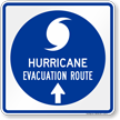 Hurricane Evacuation Route Ahead Arrow Sign