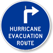 Hurricane Evacuation Route Upper Right Arrow Sign