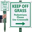 Keep Off Grass Lawnboss Sign, Right Arrow