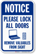 Notice Lock All Doors Remove Valuables Sign