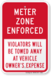 Meter Zone Enforced, Violators Towed Away Sign