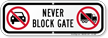 Never Block Gate, No Parking Sign