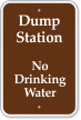 Dump Station, No Drinking Water Campground Sign