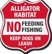 No Feeding Fishing Alligator Warning Shield Sign